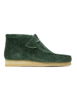 Green Hairy Suede Wallabee Boots by Clarks Originals