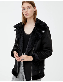 Black Double Faced Jacket by Pull & Bear