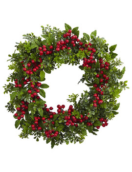 Berry Boxwood Wreath In Green And Red by Nearly Natural, Inc.