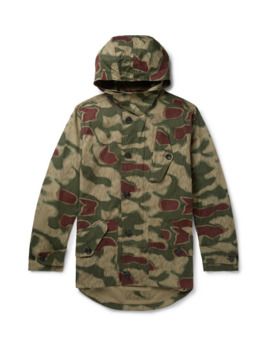 Camouflage Print Cotton Canvas Hooded Jacket by Ten C