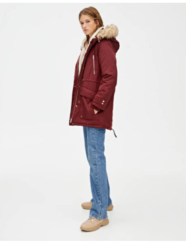 Basic Parka With Faux Fur Hood Trim by Pull & Bear