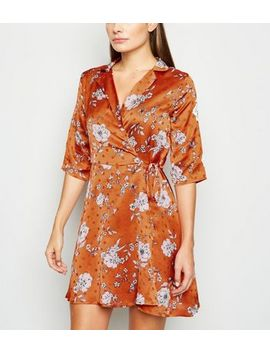 Blue Vanilla Rust Floral And Spot Dress by New Look