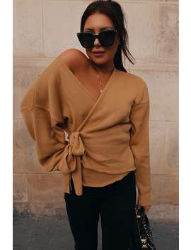 Lorna Luxe Honey 'but First' Wrap Cardigan by In The Style
