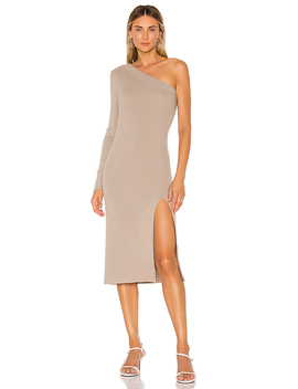Aleah One Shoulder Sweater Dress In Grey by L'academie