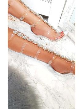 Karla Embellished Perspex Gladiator Heels In Silver by Ikrush