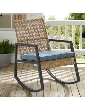 Light Brown/Blue Shifflett Modern Patio Rocking Chair With Cushion by Ivy Bronx