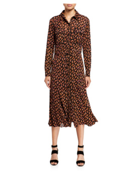 Andi Paisley Print Long Sleeve Shirt Dress by Diane Von Furstenberg