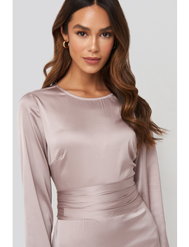 Belted Satin Midi Dress Pink by Na Kd Trend