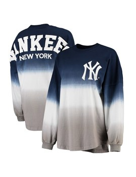 New York Yankees Women's Oversized Long Sleeve Ombre Spirit Jersey T Shirt   Navy by Fanatics Branded