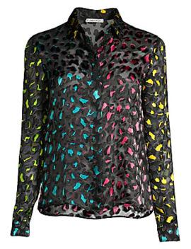 Willa Colorblock Leopard Velvet Burnout Blouse by Alice + Olivia