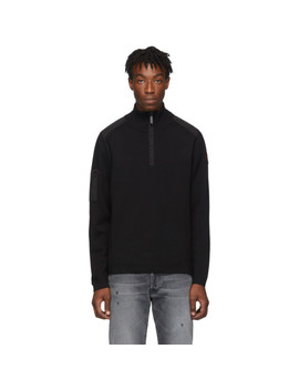 Black Stormont Quarter Zip Sweater by Canada Goose