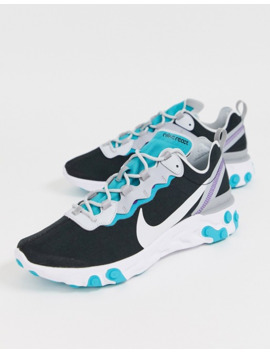 Черные/сине зеленые кроссовки Nike React Element 55 by Nike