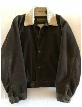 Timberland Weather Gear Corduroy Sherpa Jacket, Excellent Con., Large, Brown, Men by Timberland