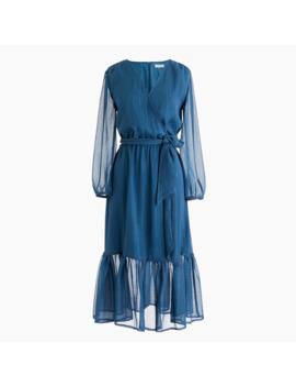 Point Sur Faux Wrap Dress In Lurex® Crinkle Chiffon by Point Sur Faux Wrap Dress In Lurex