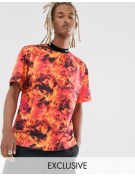 Collusion   T Shirt Con Stampa Di Fiamme by Collusion