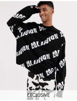 Collusion   T Shirt Oversize A Maniche Lunghe Con Stampa by Collusion