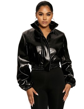 I'll Faux Get About U Bomber Jacket by Naked Wardrobe