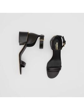 Gold Plated Detail Leather Block Heel Sandals by Burberry