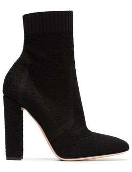 Black Sock 105 Leather Ankle Boots by Gianvito Rossi