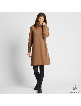 Women 3 D Knit Premium Lambswool Turtleneck Long Sleeved Dress (Short) (1) by Uniqlo