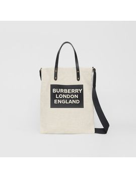 Logo Cotton Canvas Tote Bag by Burberry