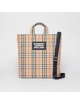 Logo Appliqué Vintage Check Cotton Blend Tote by Burberry