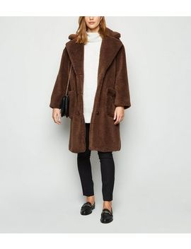 Blue Vanilla Tan Longline Teddy Coat by New Look