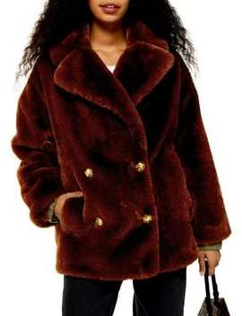 Petite Ally Velvet Faux Fur Double Breasted Coat by Topshop
