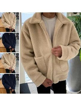 Mens Womens Long Sleeve Fleece Coats Zip Up Long Sleeve Baggy Furry Coat Jacket by Incerun