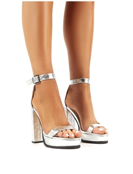 Rachael Silver Platform Block Heeled Barely Theres by Public Desire