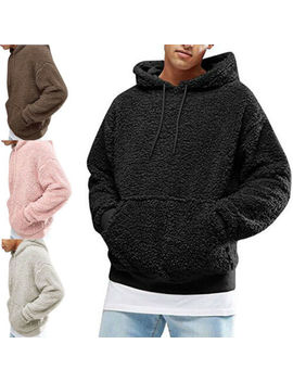 Men Autumn Winter Hoodie Warm Outwear Soft Leisure Furry Thick Jacket Pocket Hat by Unbranded