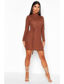 Petite Roll Neck Belted Rib Dress by Boohoo
