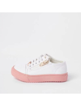 Mini Girls White Zip Up Trainers by River Island