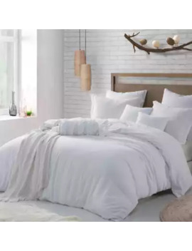 Swift Home Crinkle Pre Washed Microfiber Full/Queen Duvet Cover Set In White by Bed Bath And Beyond