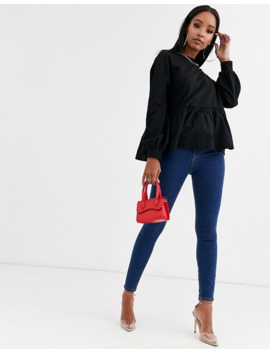 Boohoo Peplum Sweater In Black by Boohoo
