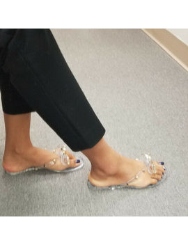 Womens Studded Jelly Bow Thong Flip Flop Flat Sandals by Ebay Seller