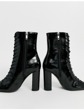 Glamorous Black Patent Lace Up Ankle Boots by Glamorous
