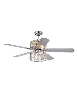 Perris 52 Inch 5 Blade Chrome Lighted Ceiling Fans With 2 Tier Crystal Shade (Remote Controlled) by Warehouse Of Tiffany