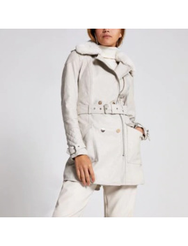 Beige Faux Leather Belted Jacket by River Island