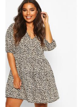 Plus Leopard Puff Sleeve Sweat Smock Dress by Boohoo