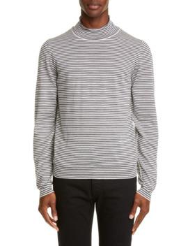 Stripe Mock Neck Wool Sweater by Maison Margiela