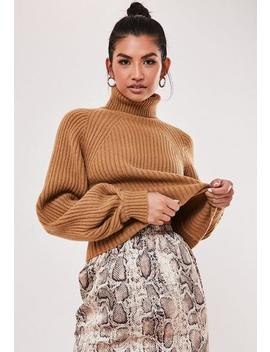 Black Rib Tuck Sleeve Roll Neck Jumper by Missguided