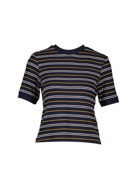 Stripe High Neck T Shirt by Boohoo