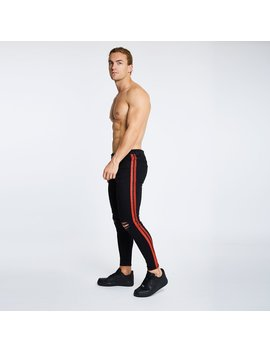 Black   Red Striped/Ripped Knee Jeans by Legend London