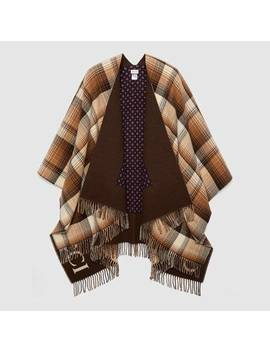Reversible Wool Poncho With Geometric Motif by Gucci
