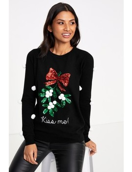 Fashion Union Sequin Mistletoe Jumper With Pom Poms by Next