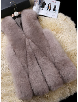Elegant Faux Fur Pure Color Sleeveless Women Vest Coat by Newchic