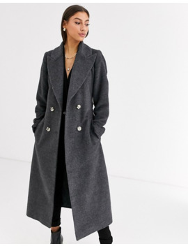 Glamorous Tall Double Breasted Wool Coat With Tie Waist by Glamorous