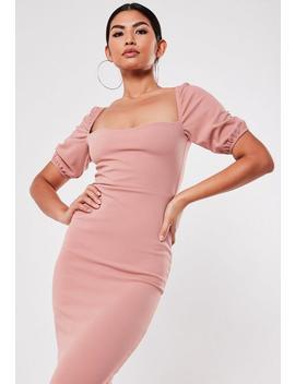 Różowa Sukienka Midi Z Krótkimi Bufiastymi Rękawami by Missguided