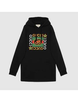 Hooded Dress With Gucci Logo Star Print by Gucci